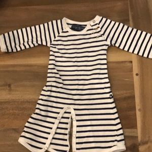 Tooby Doo blue and white striped onesie